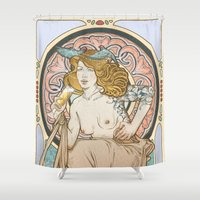 mucha Shower Curtains featuring Mucha modern stylization by Anna Sun