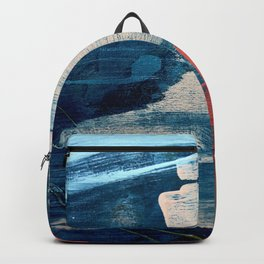 Deep Waters: a vibrant, minimal, abstract painting in pinks and blues by Alyssa Hamilton Art Backpack