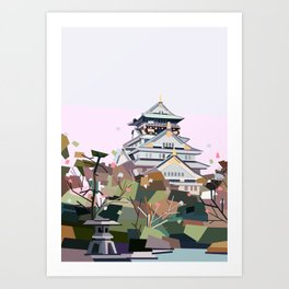 Geometric Osaka castle, Japan Art Print