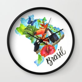 Brasil Watercolor Wall Clock