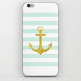 Glitter sea anchor iPhone Skin