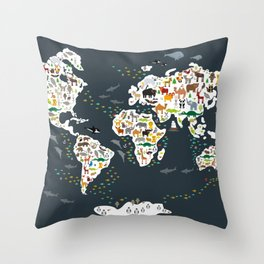 Cartoon animal world map for kids, back to schhool. Animals from all over the world Throw Pillow