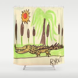 Crocodile Swamp Shower Curtain