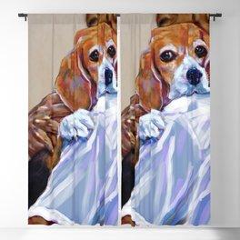 A man carries a cute beagle. Blackout Curtain