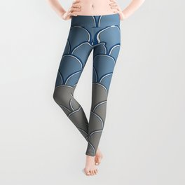 Geometric Circle Shapes Beachy Fish Scale Pattern in Blue and Gray Leggings