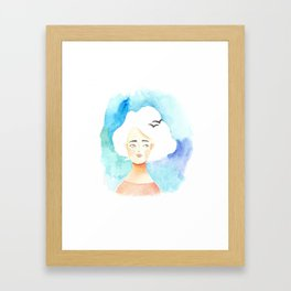 Spring cloud lady Framed Art Print