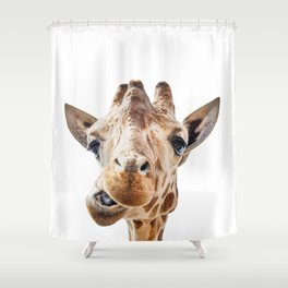Funny Giraffe Portrait Art Print, Cute Animals, Safari Animal Nursery, Kids Room Poster Shower Curtain