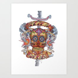 Mutant Day of the Dead Skull Art Print
