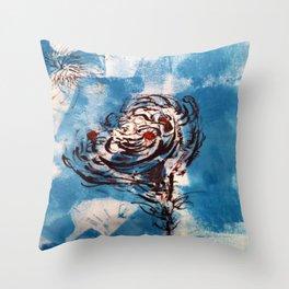 Blue Rose Mono Print Throw Pillow