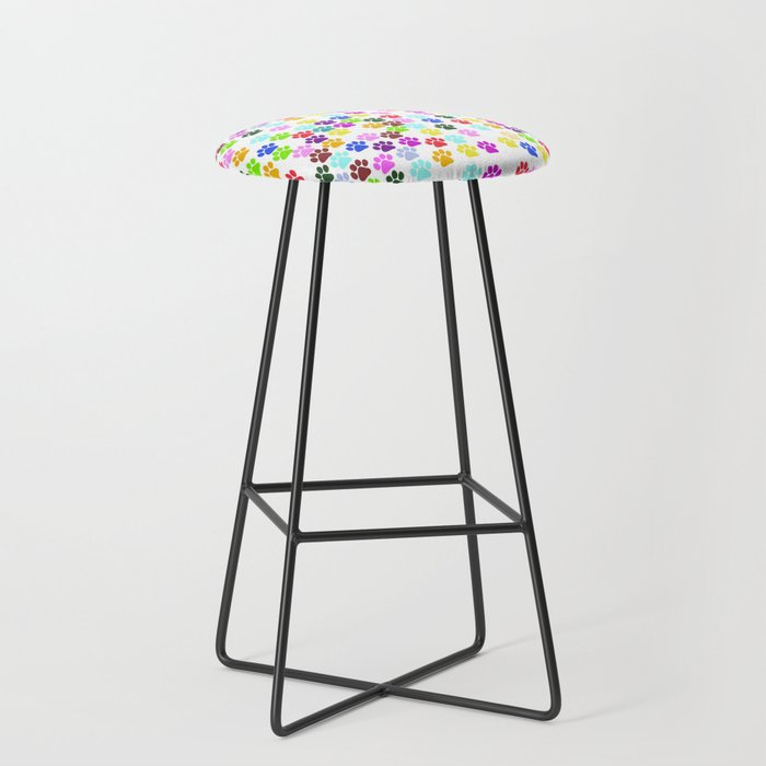 Dog Paws, Trails, Paw-prints - Red Blue Green Bar Stool