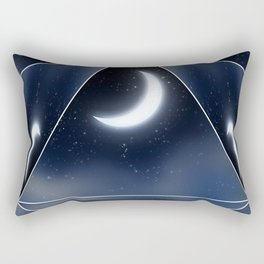 Crescent Moon over Starry Sky Rectangular Pillow