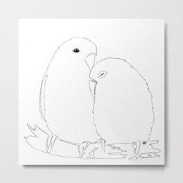 Love Birds line art Metal Print