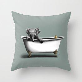 Elephant in Bath Throw Pillow