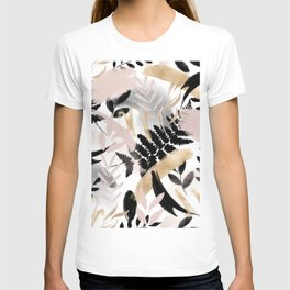 Pink black white faux rose gold brushstrokes floral T-shirt