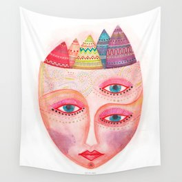 girl with the most beautiful eyes mask portrait Wall Tapestry