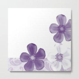Retro 70s Flowers Lilac Metal Print