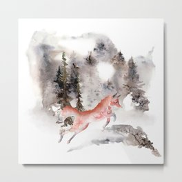 Fox Gamboling In The Mountain Mist Metal Print