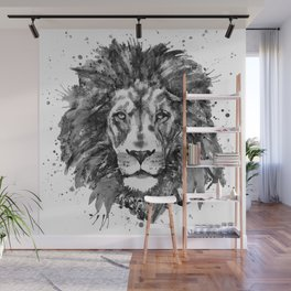 Black and White Lion Head Wall Mural