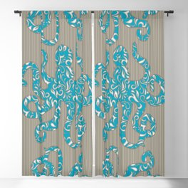 Octopus filled with Floral Vine Print - Turquoise on Brown Striped Background Blackout Curtain