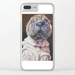 Shar Pei Dog art portrait from an original painting by L.A.Shepard Clear iPhone Case