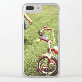 girl and old tricycle,vintage picture style Clear iPhone Case