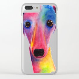 Nosey Dog Whippet Greyhound ' BeLLa ' by Shirley MacArthur Clear iPhone Case