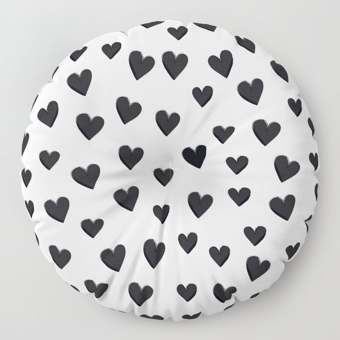 Hearts Love Black and White Pattern Floor Pillow