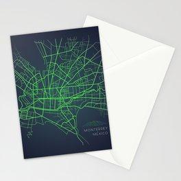 Monterrey Mexico city map digital illustration Stationery Cards