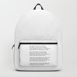 For What It's Worth, Life, F Scott Fitzgerald Motivational Quote Backpack