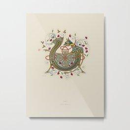 Celtic Initial V Metal Print