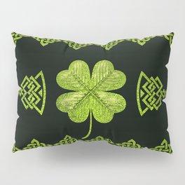 Irish Shamrock Four-leaf clover with celtic decor Pillow Sham