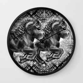 Damask Friesian Wall Clock