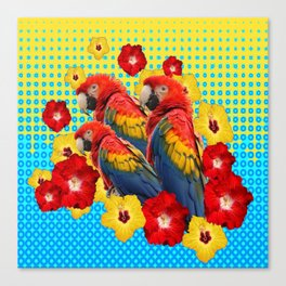 YELLOW-BLUE  FLORAL MACAWS & RED YELLOW HIBISCUS Canvas Print