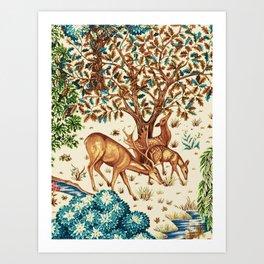 William Morris Deer by a Brook Tapestry Beige Art Print