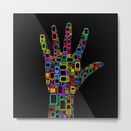 Mobile Phones Hand Metal Print