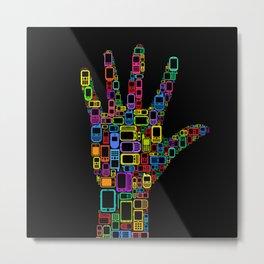 Mobile Phones Hand Metal Print