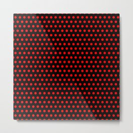 Polka / Dots - Red / Black - Medium Metal Print