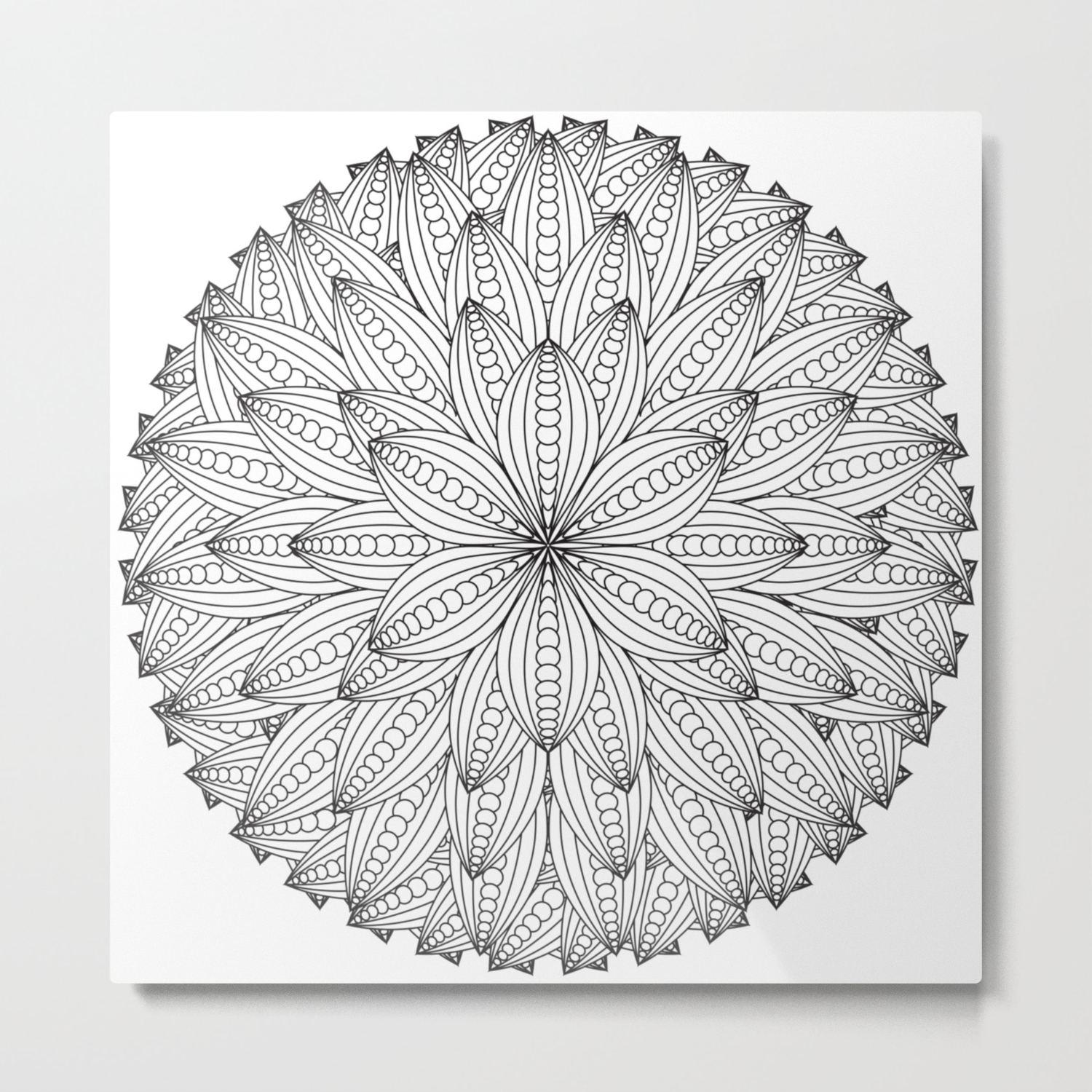 Geometric Flower Mandala Color Your Own Metal Print By