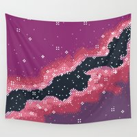 8bit Wall Tapestries featuring Pink Rift Galaxy (8bit) by Sarajea