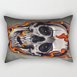 Skull in Flames Rectangular Pillow