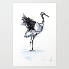 Crane, Watercolor Art Print