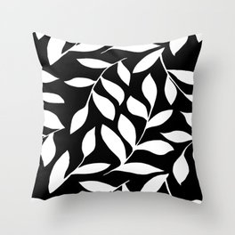 WHITE AND BLACK LEAVES DESIGN PATTERN Throw Pillow