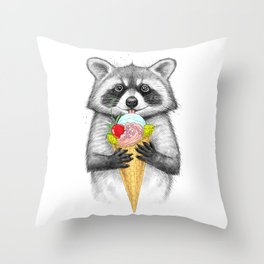raccoon with ice cream Throw Pillow