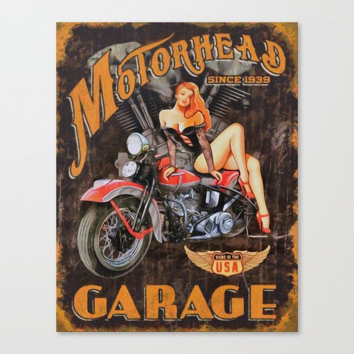Motorhead Garage Vintage Poster Canvas Print