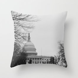 US Capitol Shrouded In Winter Gloom Throw Pillow