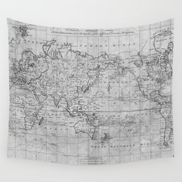 Black and White World Map (1799) Wall Tapestry