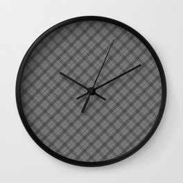 Tombstone Grey and Black Halloween Tartan Check Plaid Wall Clock
