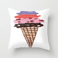 ice cream Throw Pillows featuring Ice Cream by Sartoris ART