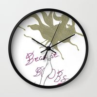 boobs Wall Clocks featuring Because Boobs by Meagan Harman