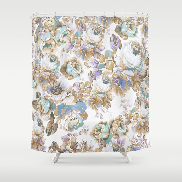 Vintage blush lavender brown teal blue roses floral Shower Curtain ...